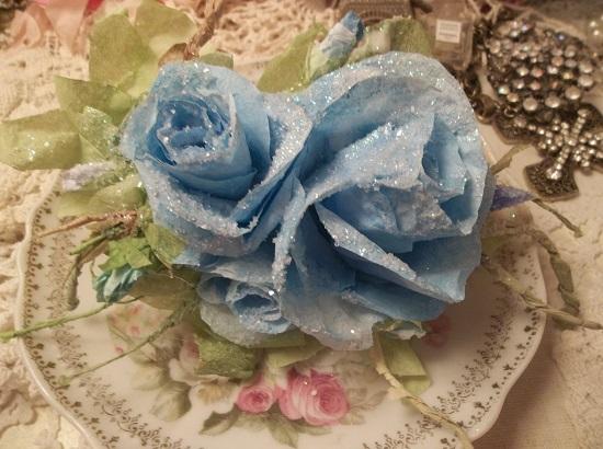 (Blue, Blue Christmas) Handmade Paper Rose Clip