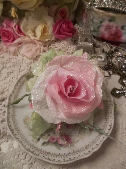 (Iced) Handmade Paper Rose Clip