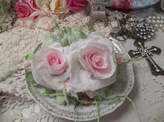 (Rose Of Sharon) Handmade Paper Rose Clip