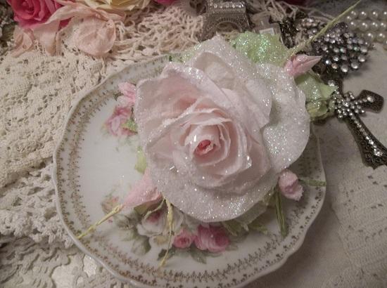 (Misti) German Glass Glittered Handmade Paper Rose Clip