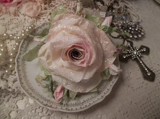(Anna) German Glass Glittered Handmade Paper Rose Clip