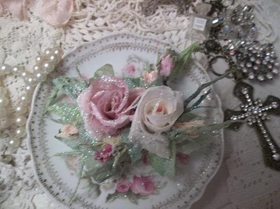 (Frozen Pink Lemonade) German Glass Glittered Handmade Paper Rose Clip
