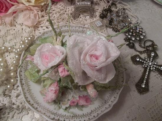 (Randy) German Glass Glittered Handmade Paper Rose Clip