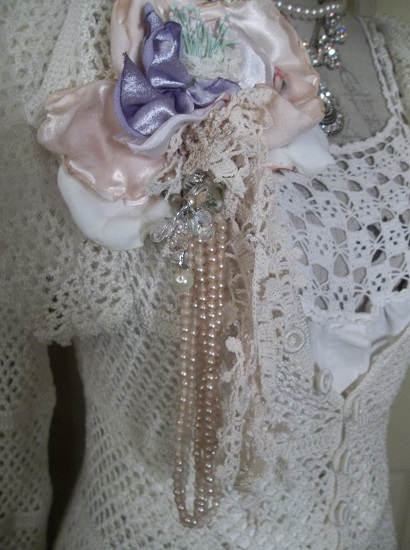 (Old Flakey Pearl) Shabby Hand Made, Hand Sewn Satin Rose Brooch