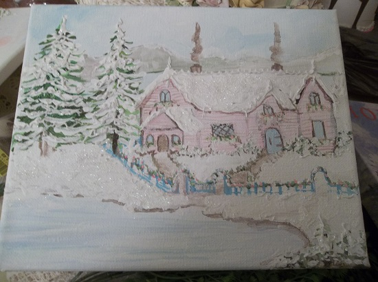 (Arctic Anika's Cottage) Original Acrylic Painting By Rhonda Motteberg On Stretched Canvas