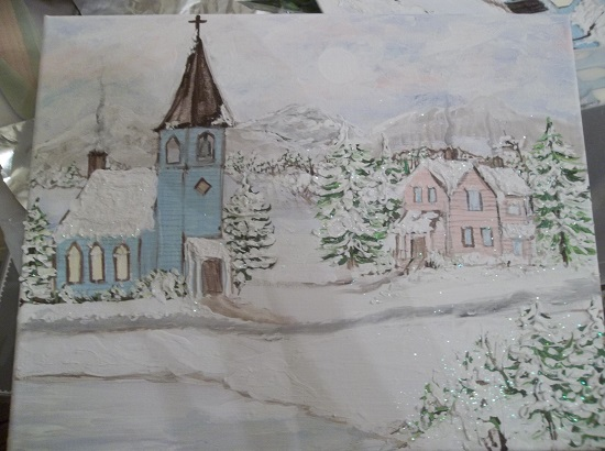 (The Parsonage And The Church) Original Acrylic Painting By Rhonda Motteberg On Stretched Canvas