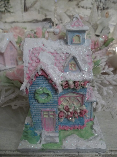 (Miss Bunny's House) Handpainted, Glittered, And Textured Resin Structure