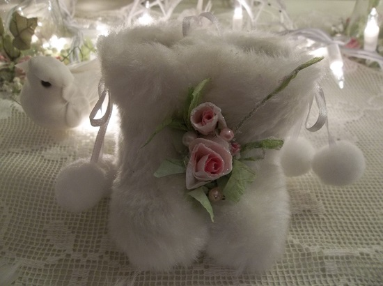 (Eskimo Ella) White Fake Fur Boots Ornament With Handmade Glittered Roses