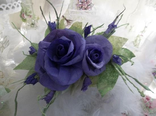 (Delphinium Delight) Handmade Paper Rose Clip