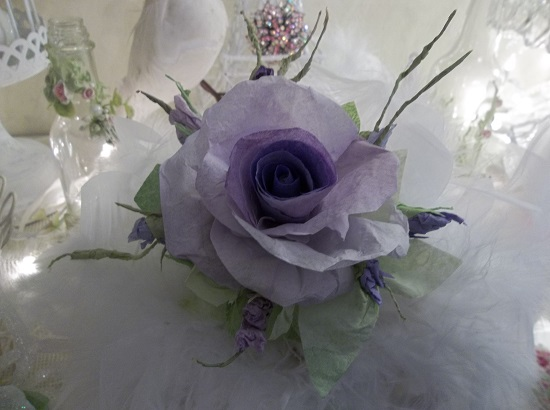 (Twilight) Handmade Paper Rose Clip
