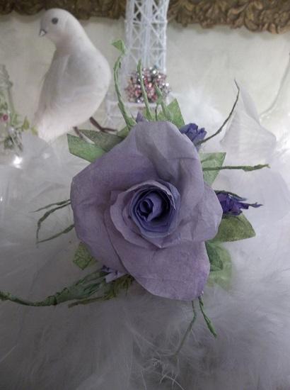 (Susan) Handmade Paper Rose Clip