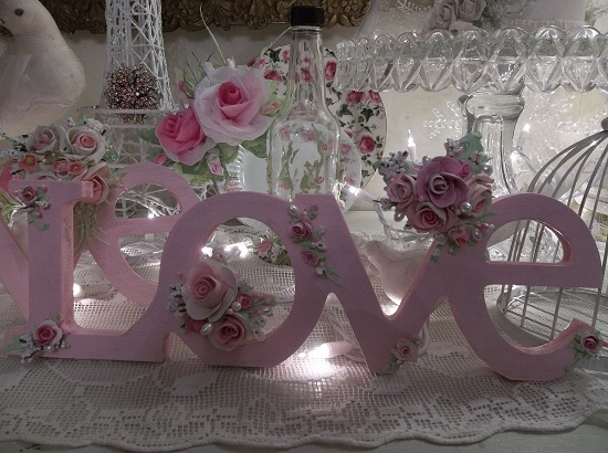 (Love Me) Handpainted Valentine's Day Decor Graced With My Handmade Clay Roses