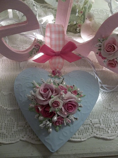 (Blue Heart) Handpainted Tin Heart Ornament