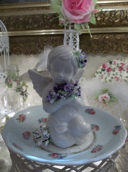 (Lavender rose) Pretty ceramic Angel, Cupid Holding Handmade Clay Roses! Victorian, Valentine's Day, Romantic, Decor., A Perfect Little Angel!