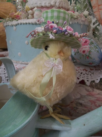 (Miss Verda) Easter Decor Baby Chick In Gingham Hat Ready For The Easter Parade