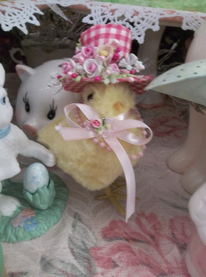 (Miss Rosa Belle) Easter Decor Baby Chick In Gingham Hat Ready For The Easter Parade