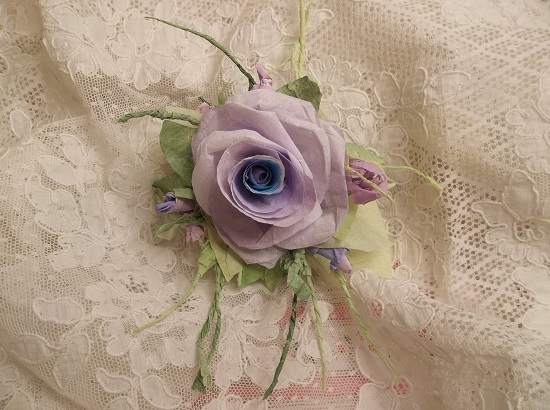 (Elizabeth Violet) Handmade Paper Rose Clip