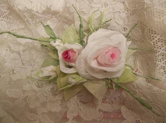(Rhoda) Handmade Paper Rose Clip