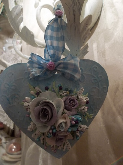 (Miss Violet Blue Sky) Handpainted Tin Heart Ornament