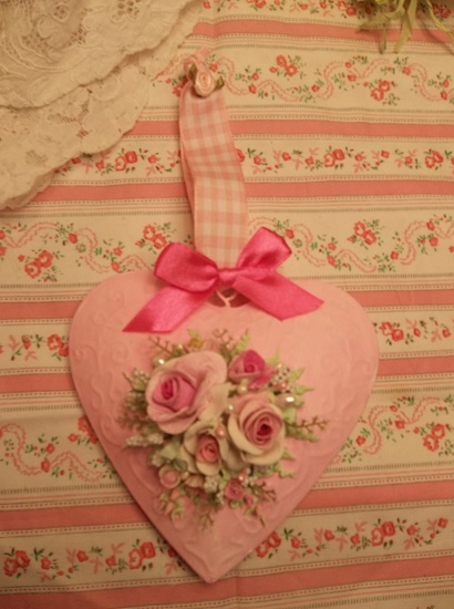 (Hearts & Flowers) Handpainted Tin Heart Ornament