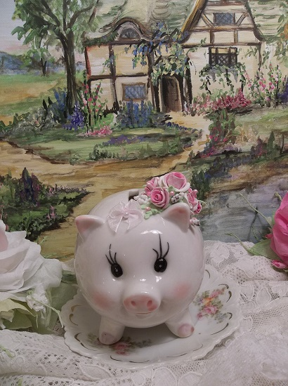 (Miss Penny Pink Stuff) Decorated Ceramic Piggy Bank