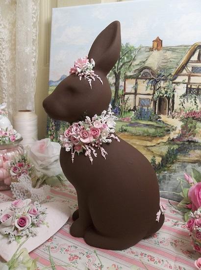 (Fudge) Decorated Big Ceramic Chocolate Bunny