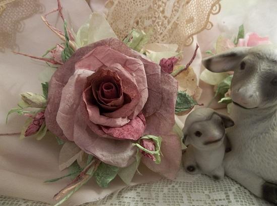 (Deep Rose) Handmade Paper Rose Clip