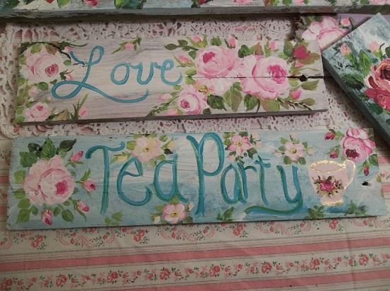 (Garden Tea Party) Handpainted Sign