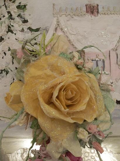 (Golden Glow) Prism Glittered Handmade Paper Rose Clip
