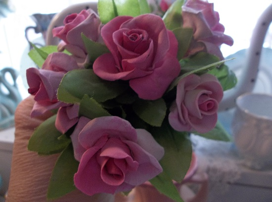 (Agnus Marie) 6 Handmade Clay Roses On Stems