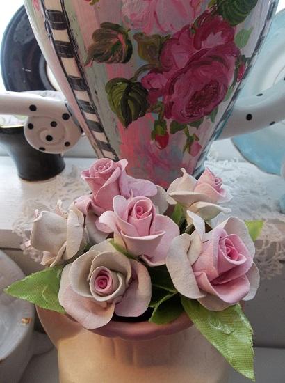 (Madalynn) 6 Handmade Clay Roses On Stems