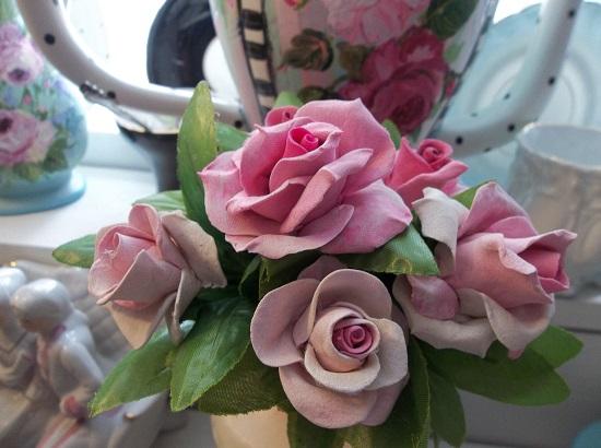 (Patsy) 6 Handmade Clay Roses On Stems