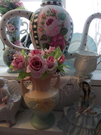 (Donna) 7 Handmade Clay Roses On Stems