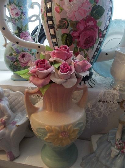 (Jan) 8 Handmade Clay Roses On Stems