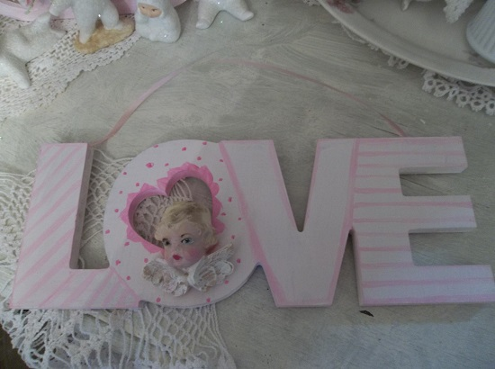 (Cindy Rosa) Handpainted And Decorated Love Sign
