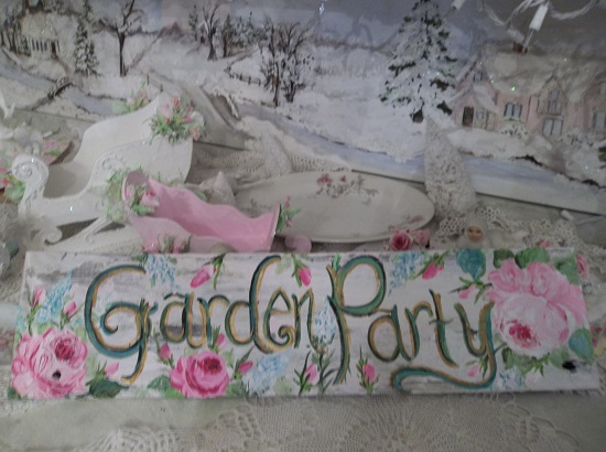 (Garden Party Sign) Handpainted Sign