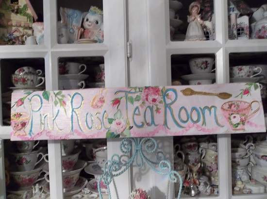 (Pink Rose Tea Room) Handpainted Sign