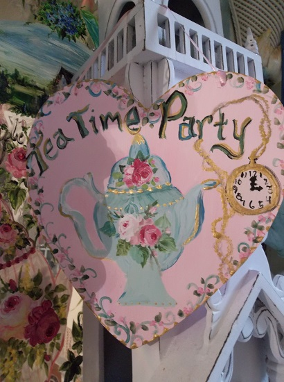 (Tea Time Party Time) Handpainted Heart