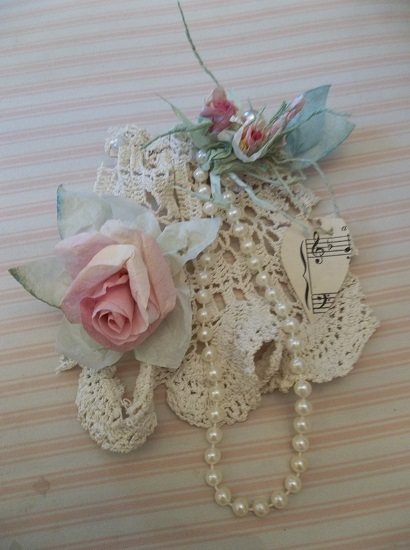 (Sweet Bliss) Lace And Handmade Paper Roses Assemblage Art