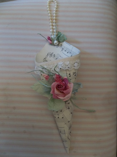 (May Melody) Sheet Music Cone With Paper Rose