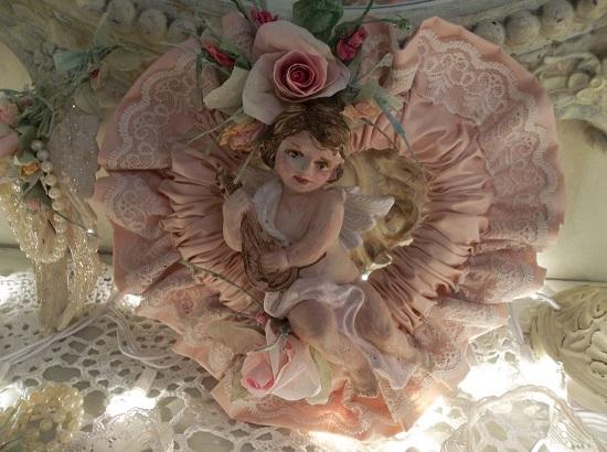 (A Cherub's Heart) Decorated Fabric Heart