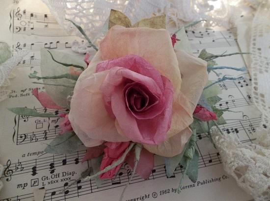 (Hazella) Handmade Paper Rose Clip