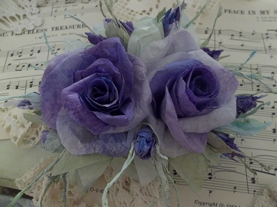 (April May Dream Of July) Handmade Paper Rose Clip