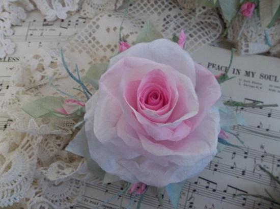 (May June Bloom) Handmade Paper Rose Clip