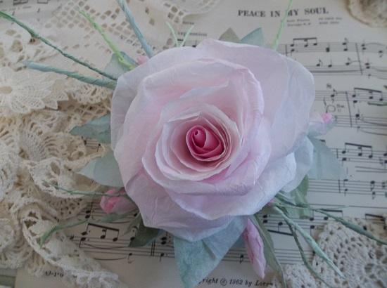 (July Blossom) Handmade Paper Rose Clip