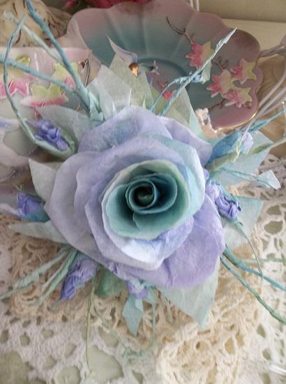 (Oriental Lily Pond) Handmade Paper Rose Clip