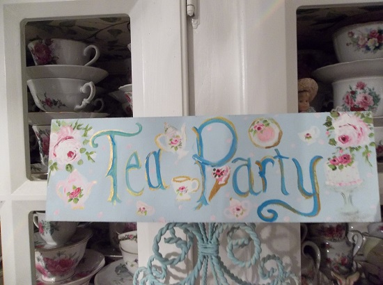 (The Sweetest Tea Party) Handpainted Sign