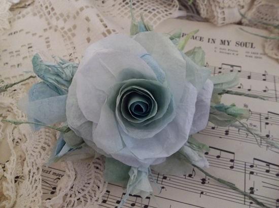 (Sharona) Handmade Paper Rose Clip