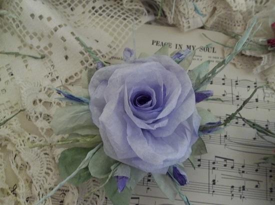 (Joan) Handmade Paper Rose Clip
