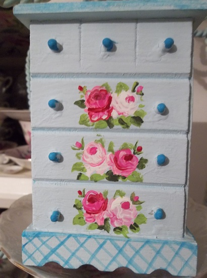 (Jovi) Handpainted Wood Doll House Dresser